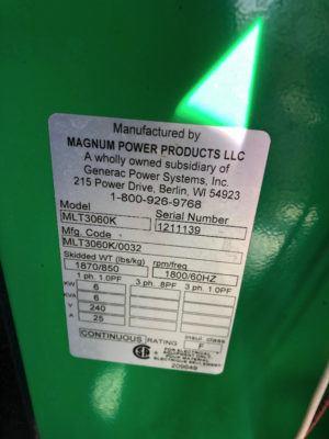 2012 Magnum MLT3060 Mobile Light Tower