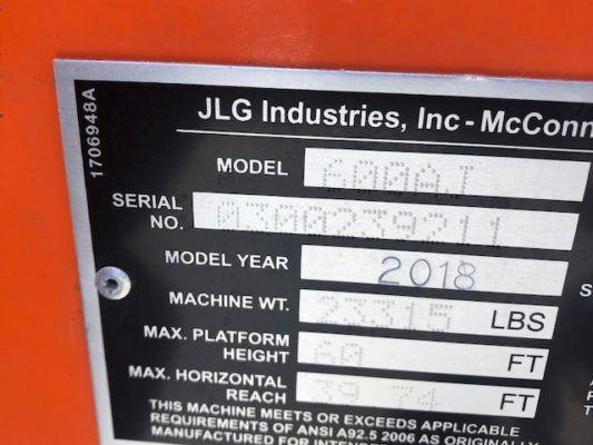 2018 JLG 600AJ Boom Lift